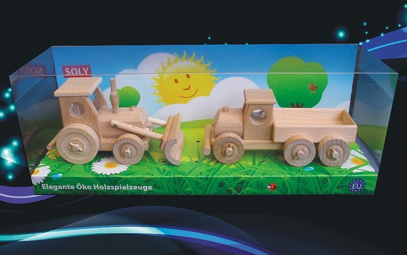 Holzspielzeug, Traktor mit Klinge und LKW