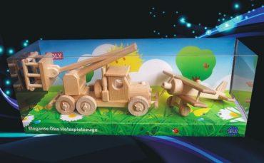 Holzspielzeug, Autoplattform und Doppeldecker