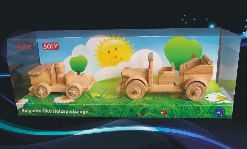 Holzspielzeug, Rennwagen und Veteranenauto autoveran