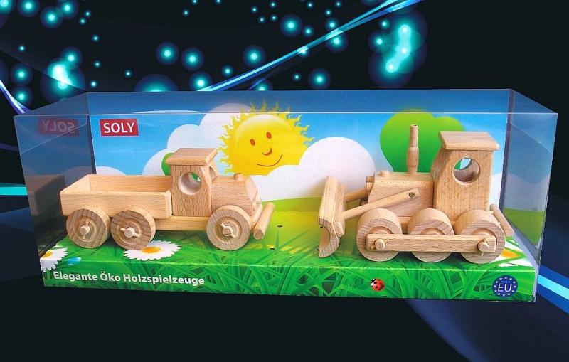 Holzspielzeug, LKW und Bulldozer