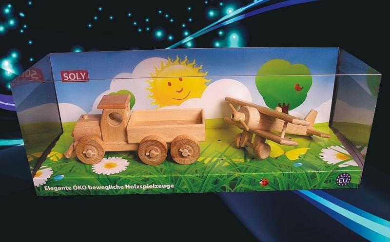 Holzspielzeug, LKW und kleiner Doppeldecker