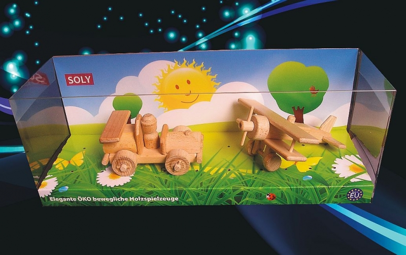 Rennwagen und klein Doppeldecker Holzspielzeug