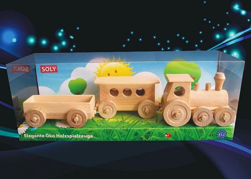 Holzzüge, ein Spielzeug für die jüngsten Kinder