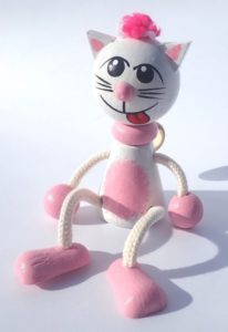 Rosa Kätzchen Frühlingsspielzeug Holzspielzeug