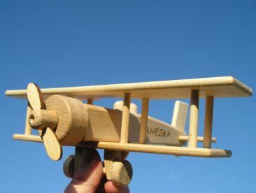 Flugzeug Doppeldecker Holzspielzeug