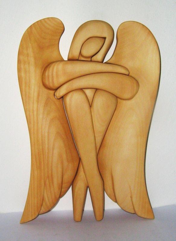 Geschnitzter hölzerner Engel, Statuette 24 cm hölzerner Schutzengel
