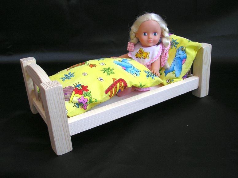 Holzbett für Puppen mit Federbett Holzspielzeug