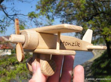 Kleines Flugzeug, Holzflugzeug - Doppeldecker Holzspielzeug