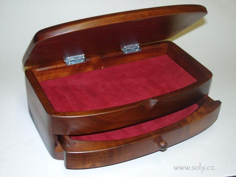 Hölzerne Schmuckschatulle mit dunkler Schublade, ein Naturprodukt