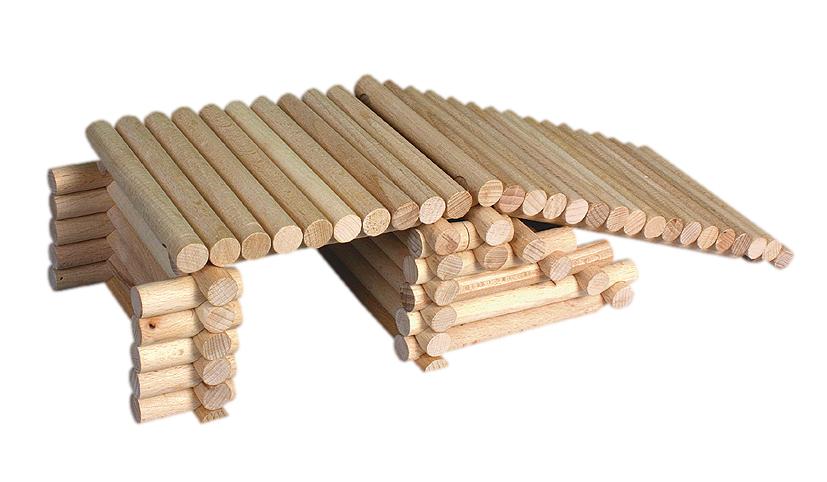 Holzbausteine für 17 verschiedene Gebäude und Häuser Holzwürfel