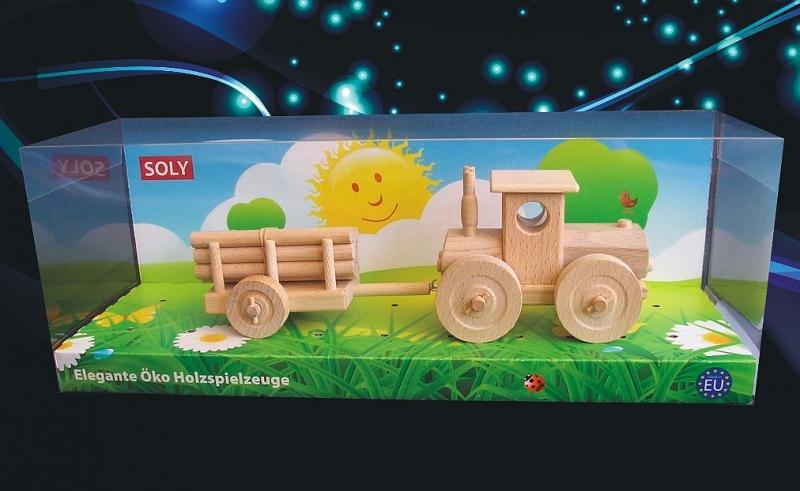 Waldtraktor mit Abstellgleis Holzspielzeug Holzgeschenk