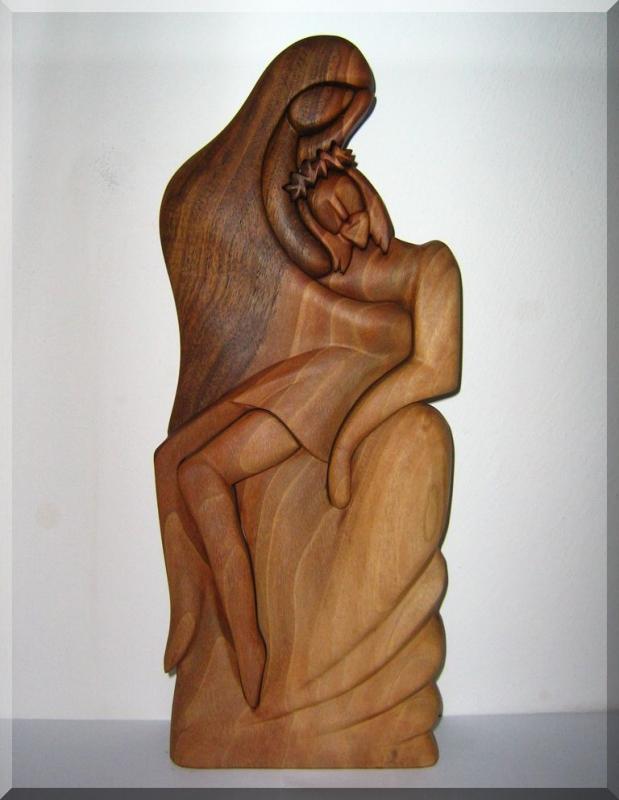 Statuette der Kreuzigung Jesu Christi – Mutter mit Sohn, Holzstatuetten
