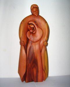 Gott mit Maria und dem Jesuskind - Holzskulptur