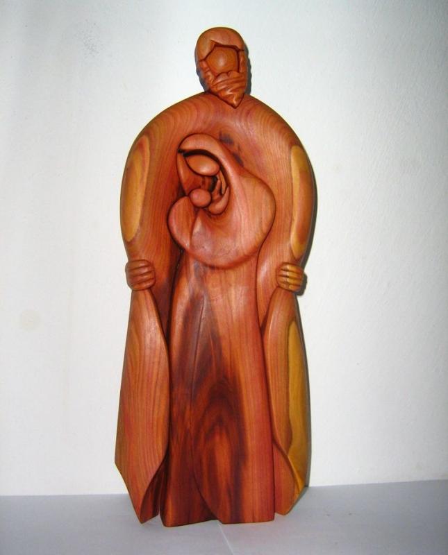 Gott mit Maria und Jesus Baby – Holzskulptur Statuettenstatue aus Holz