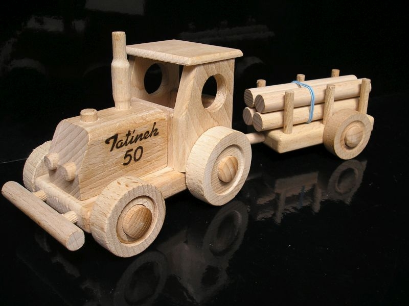 Holztraktor Traktor Spielzeug mit Abstellgleis Holzspielzeug Geschenke für Traktorfahrerhracky-ze-dreva