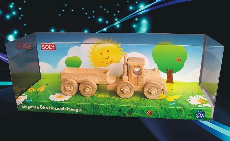 Holzspielzeug Geschenkwagen TIR LKW mit abnehmbarem Anhänger