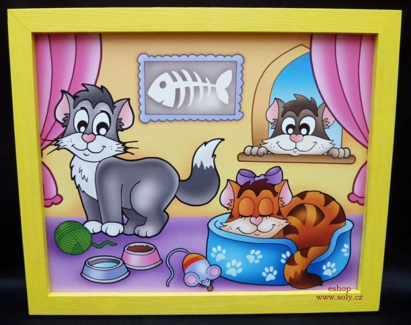 Katzen, Katzen Kinderbilder an der Wand im Kinderzimmer gemalt