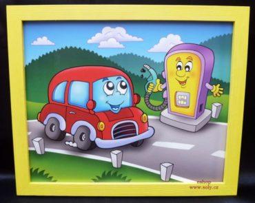 Tankstelle Spielzeugauto, Tankstelle Kinderbilder an der Wand