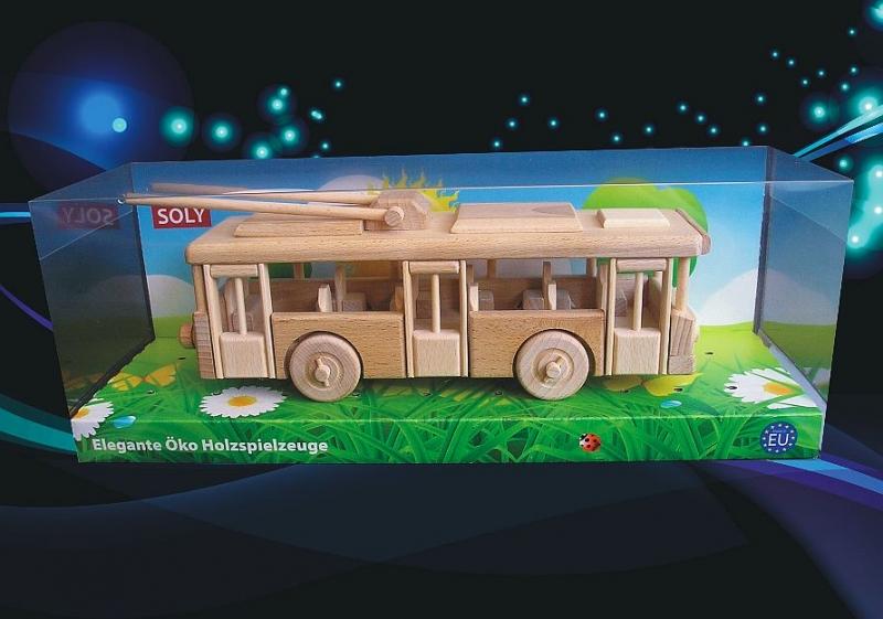 Obus, Trolleybus Spielzeug, Holzspielzeugwagen, Holzgeschenke