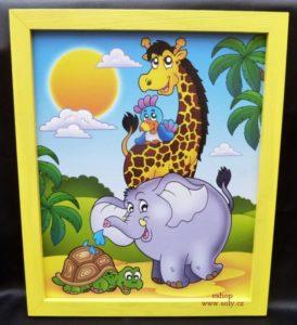 Tiere aus Afrika Babybilder an der Wand Giraffe, Elefant, Papagei, Schildkröte
