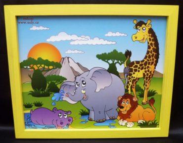 Afrikanische Tiere Baby malte Bilder an die Wand Giraffe, Elefant, Löwe, Nilpferd