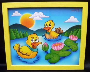 Enten, Ente Baby malte Bilder an die Wand Teich, See
