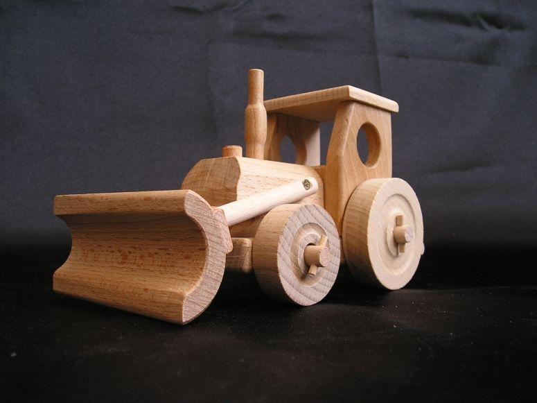 Holztraktor mit Spielklinge Holzspielzeug