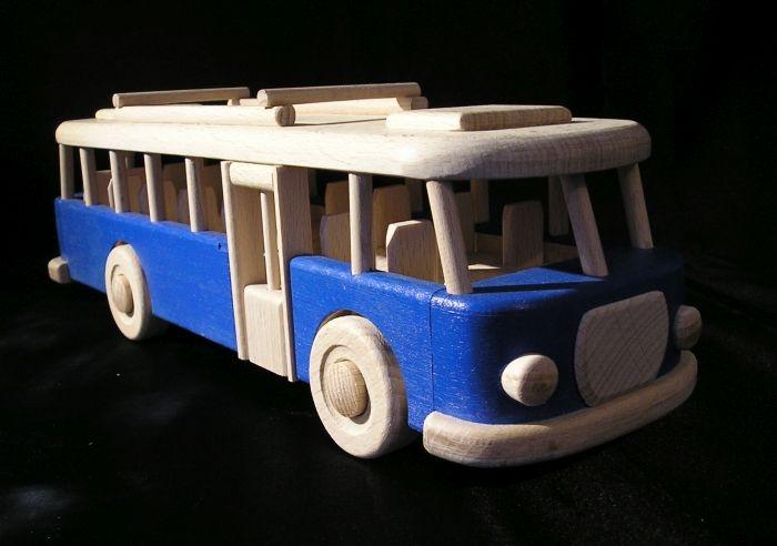 Bus RTO Spielzeug für Kinder, Holzgeschenk in blau
