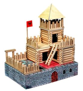 Holzbausatz für 17 verschiedene Gebäude und Häuser Holzklötze