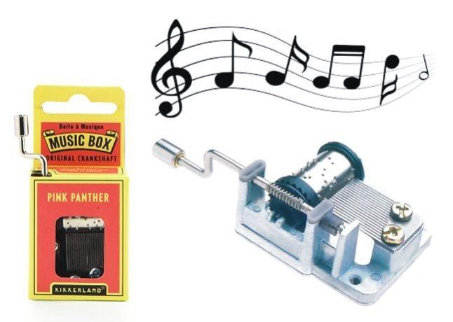 Rosa Panther, Spieluhr am Griff Orchestrierungen Musikinstrument auf einer Taste