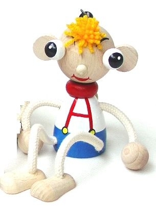 Märchenfigur für Kinder, Holzspielzeug auf einer Feder