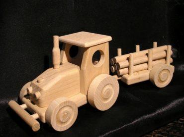 Traktor mit Abstellgleis, Kinderspielzeug, Holzgeschenken Holzgeschenke für Schubkarrenfahrer, Holzspielzeug