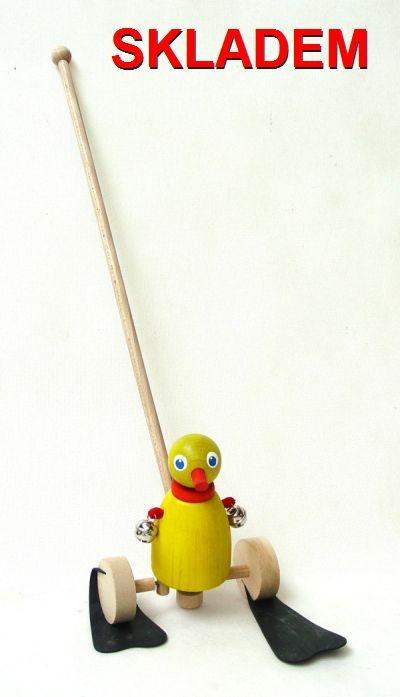 Ente Stockspielzeug – eine hölzerne Ente für Kinder, die anfangen zu laufen