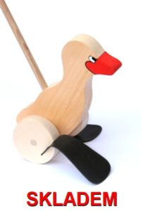 Ziehen von Holzspielzeug auf einem Stock Ente, Ente, Gans