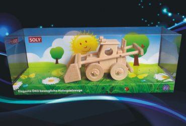 Landwirtschaftlicher Bobík-Lader, Bulldozer, Holzspielzeug