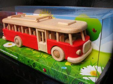 Spielzeug rot Holzbus