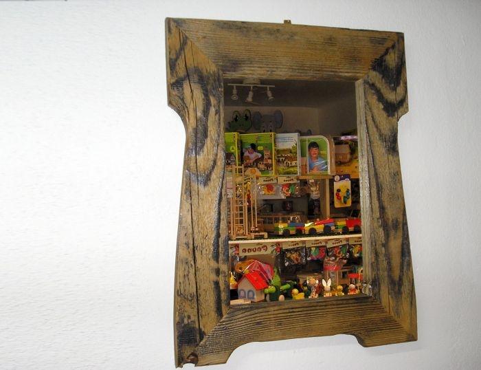 Cottage Spiegel an der Wand, hölzerner natürlicher Retro-Rahmen