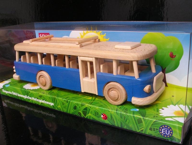 Blauer Holzbus Spielzeug