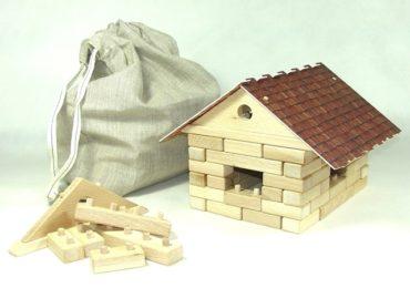 Holzbausteine - Haus aus Holzklötzen Holzspielzeug mit Spielzeugauto-Kit Holzspielzeug mit Spielzeugauto-Kit Holzspielzeug