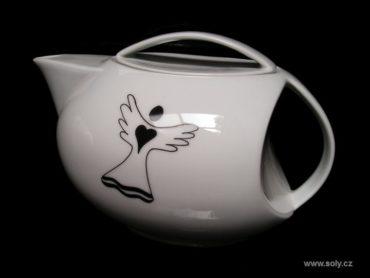 Porzellan Teekanne 1 Liter mit Engelsmotiv, Engelsmotiv