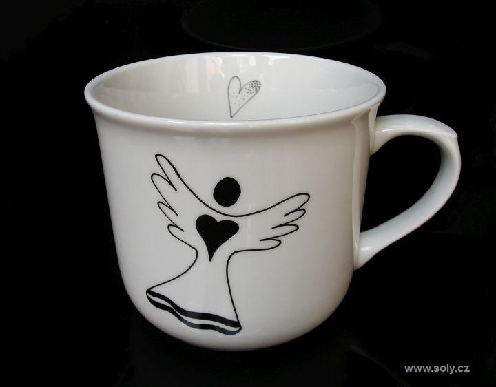 Große weiße Porzellantasse 0,5 l für Tee mit Engelsmotiv