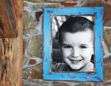 30x40 cm Holzrahmen für Bilder, Fotos, Leinwand, Fotorahmen, blau