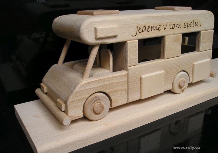 Wohnwagen auf Sockel Wohnmobil Holzgeschenk für Reisende, Wohnwagen