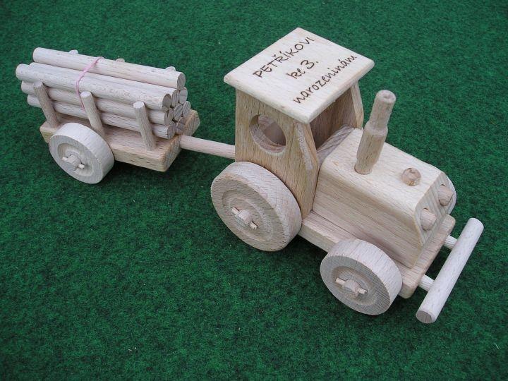 Holztraktor Traktor Spielzeug mit Abstellgleis Holzspielzeug Geschenke für Traktorfahrer