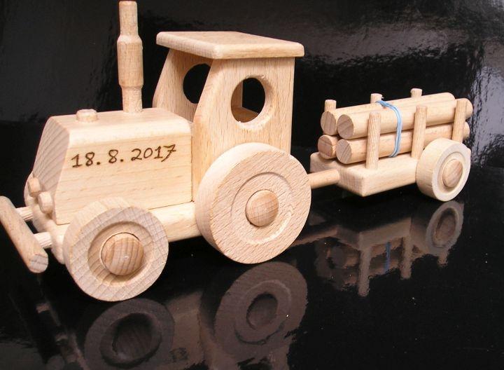 Kinder Holztraktor Schlepper Zugmaschine Spielzeug
