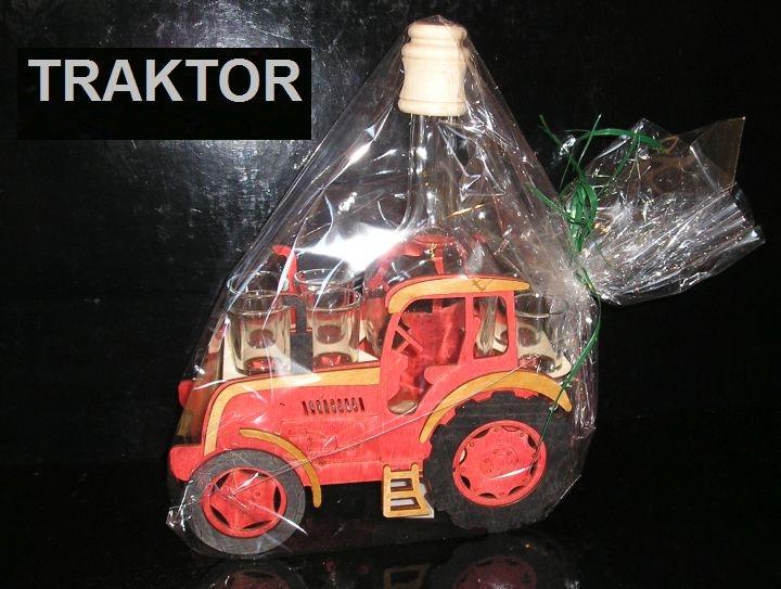 Geschenkflaschen und Alkoholglas für Traktorfahrer