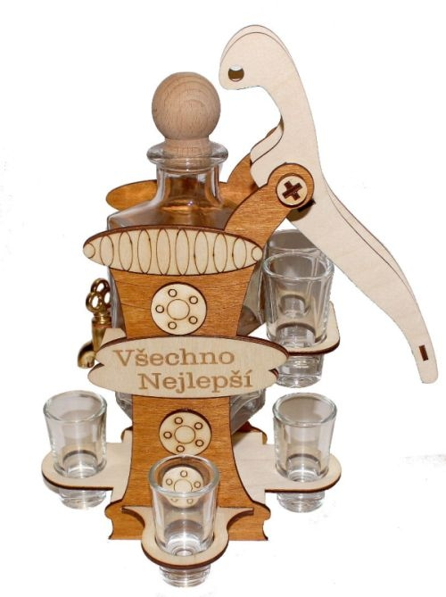 Alkohol Geschenkflasche und 6 Gläser Pumpe mit Wasserhahn