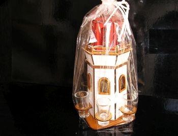 Geschenkverpackung, Flasche, Glas, 6x Alkoholglas LEUCHTTURM