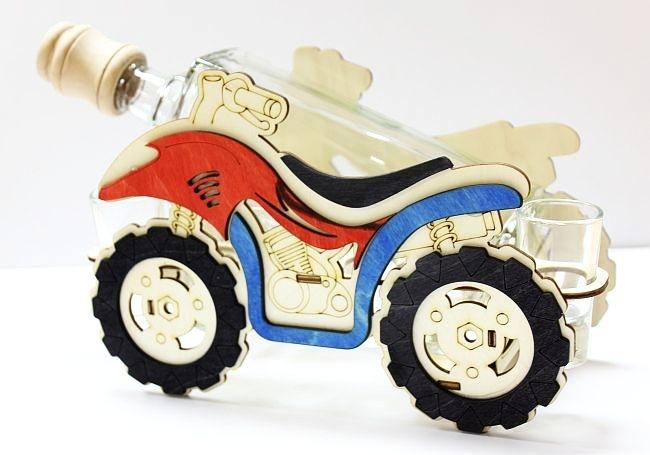 Geschenkflasche, Glasgeschenke, Quad, Motorrad