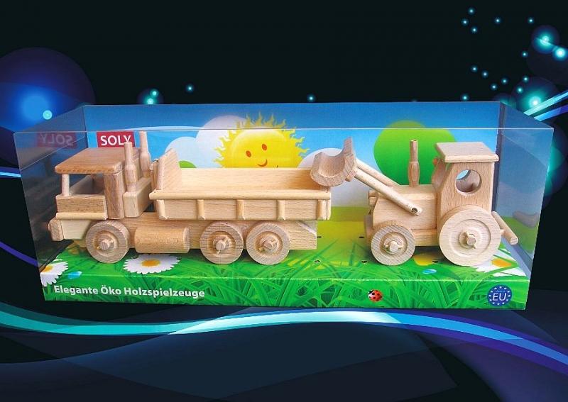 LKW und Traktor mit Klinge Holz, Spielzeug und Geschenke